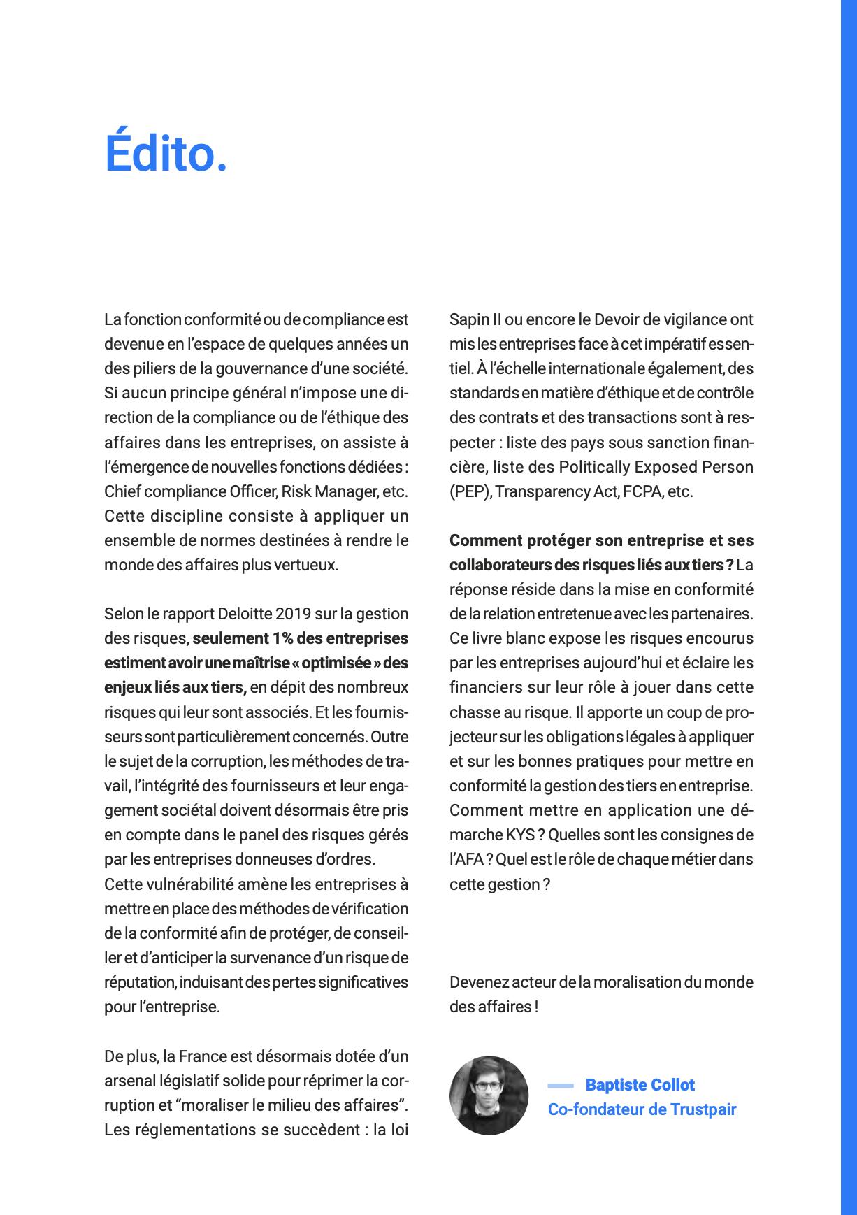 Edito Livre Blanc Gestion des tiers et conformité